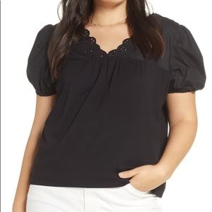 J Crew eyelet top puff sleeves scallop trim v neck